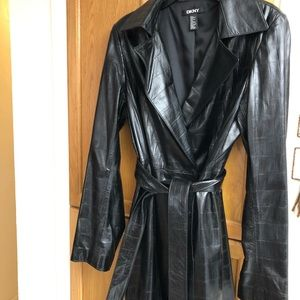 DKNY leather Trench coat
